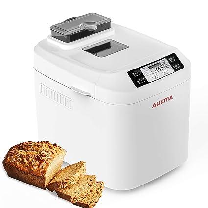 AUCMA Panificadora,Máquina para Hacer Pan con Dispensador Automático,12 Programas,panificadoras sin gluten,temporizador digital 13H, sensor de ...