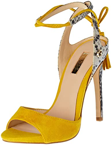 c585084473 GUESS Women?s Amee Open Toe High Heel Sandals Yellow 5.5/6 UK: Buy Online  at Low Prices in India - Amazon.in