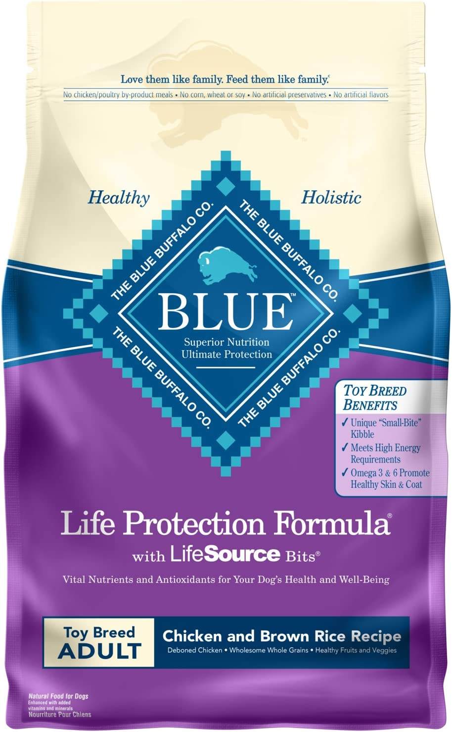 Blue Buffalo Life Protection Formula Natural Adult Toy Breed Dry Dog Food and Wet Dog Food
