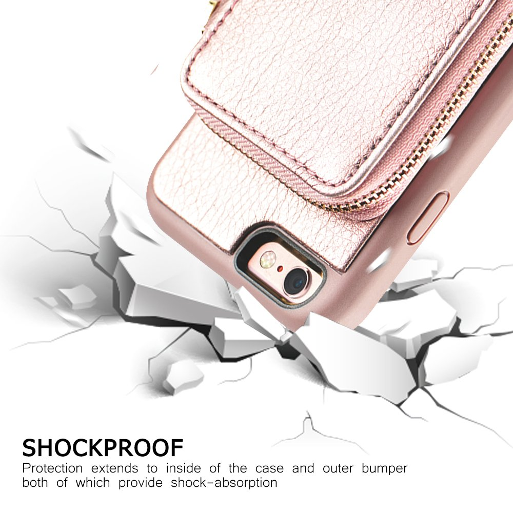 iPhone 6 Plus Wallet Case, iPhone 6 Plus Card Holder Case, ZVE iPhone 6 Plus Leather Cases with Credit Card Slot & Zipper Wallet Purse, Protective Cover for Apple 6 Plus/Apple 6s Plus- Rose Gold by ZVEdeng (Image #9)