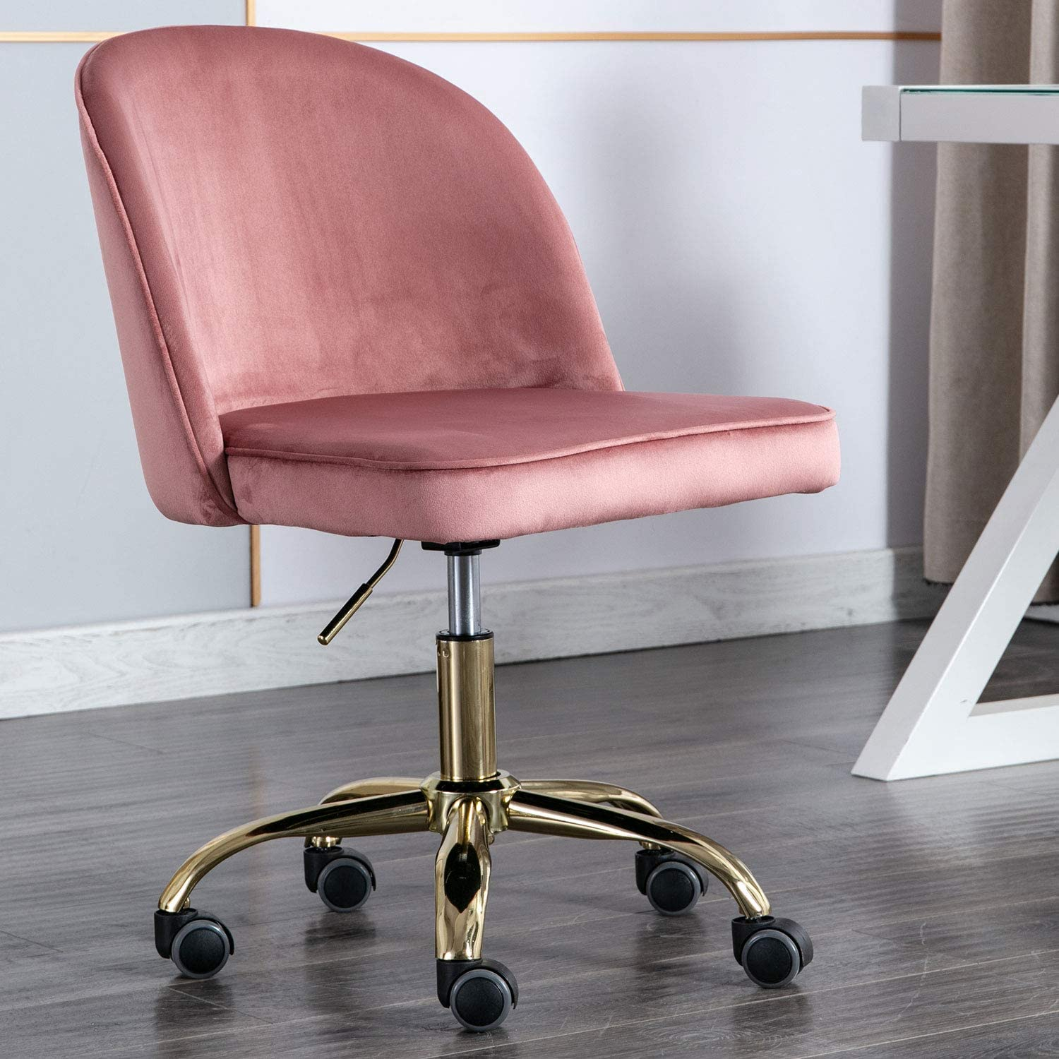 Modern Swivel Desk Chair Accent Velvet Office Chair, Adjustable Armless  Chair Study Chair with 30 Degree Castor Wheels (Pink)