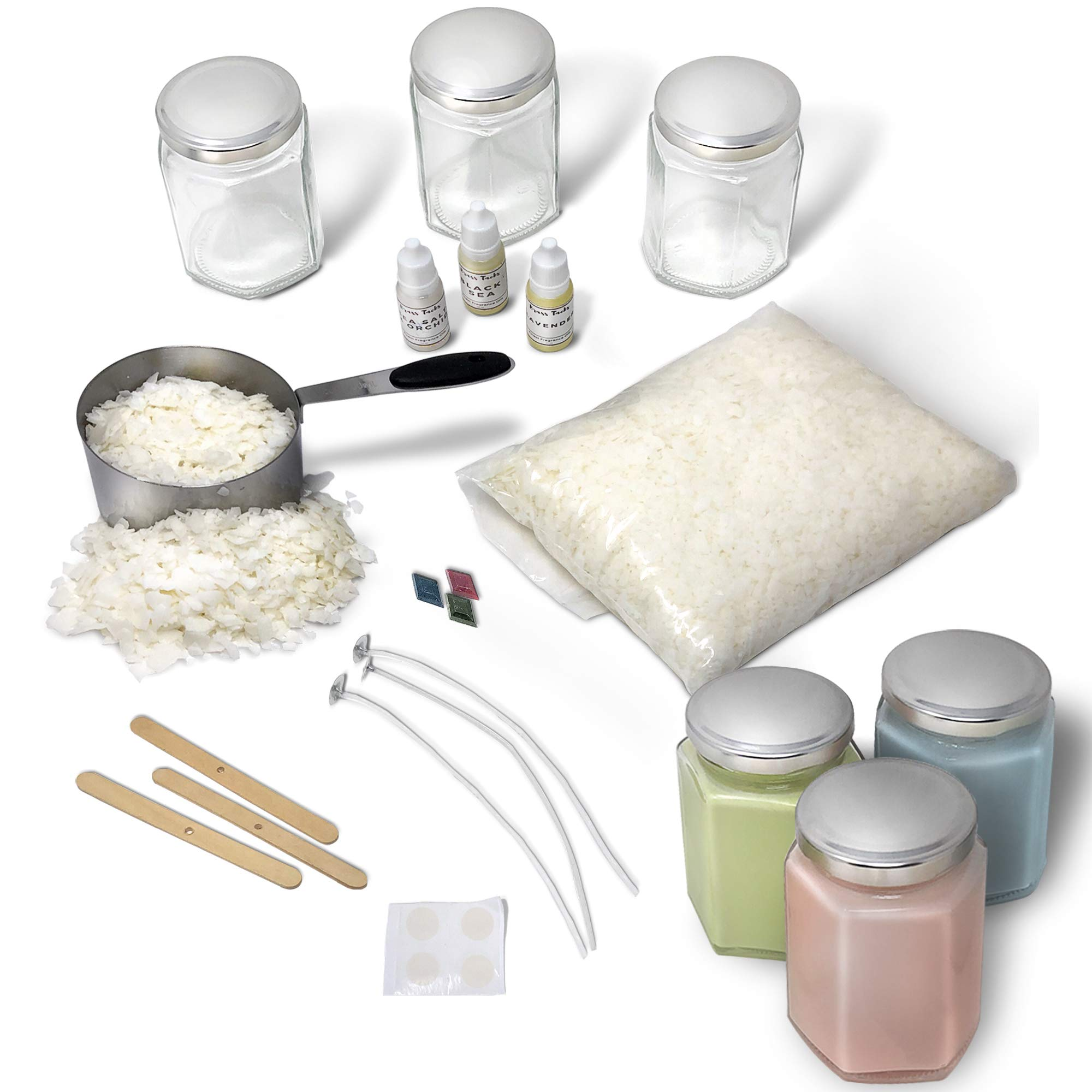 Complete Soy Wax Candle Making Kit DIY Beginners Set- Includes Supplies to Make 3 Candles Including Soy Wax, Premium Essential Oils, Hexagon Jars, Color Dye Chips, Wax Melting Pot and More. by Brass Tacks (Image #2)