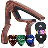 Guitar Picks Guitar Capo Quick Change Acoustic Guitar Accessories Capo Key Clamp With Free 6 Pcs Guitar Picks and Black Leather Guitar Picks Holder (Rosewood Color)
