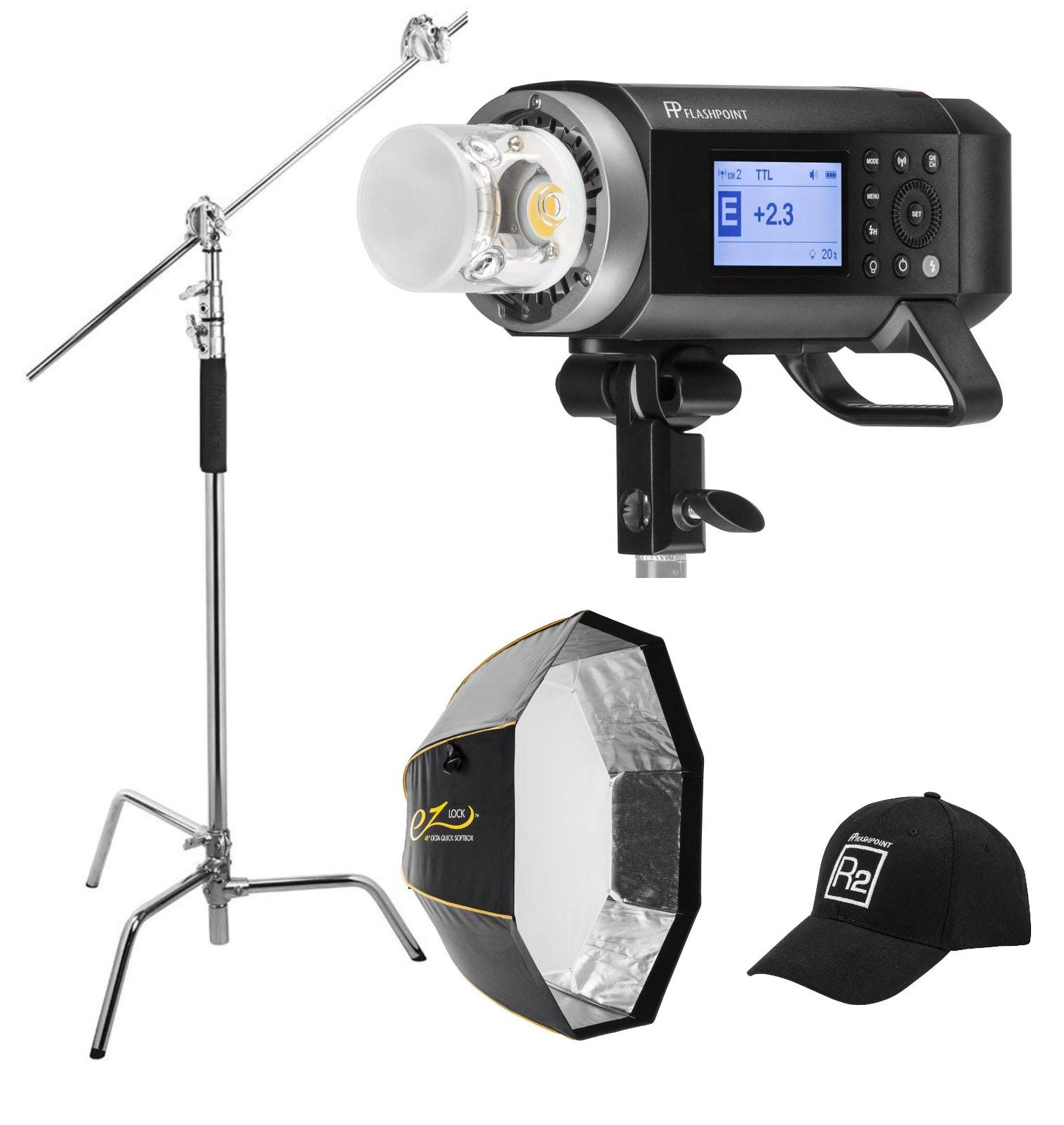 Flashpoint XPLOR 400PRO R2 TTL Battery-Powered Monolight Kit with Glow 48'' EZ Lock Octa Softbox and C-Stand