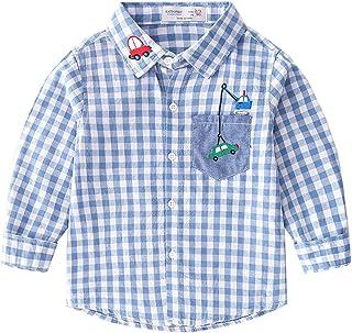 Mornyray Kids Baby Boys Cartoon Print Plaid Shirt Long Sleeve Casual Tops