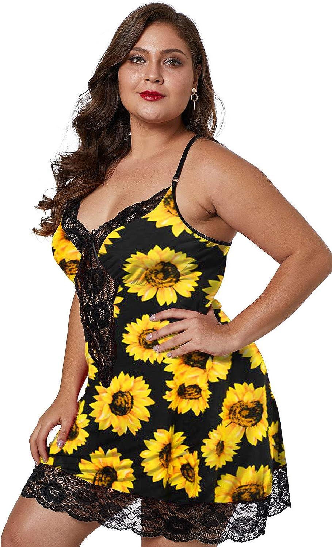 XAKALAKA Women Plus Size Babydoll Lingerie Back Crisscross Lace Trim Chemise Sleepwear