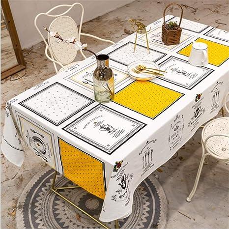 SONGHJ Lino de algodón Mantel Blanco Fiesta Decoración de la Fiesta Cubierta de la Mesa Rectángulo Impermeable Mesa de Comedor A 90x90cm / 35x35in: Amazon.es: Hogar