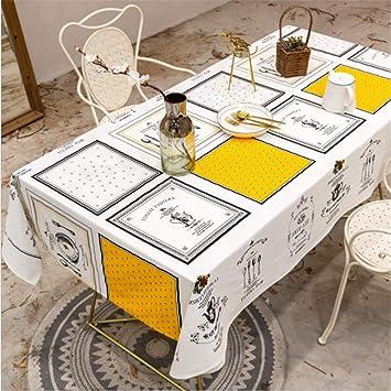 SONGHJ Lino de algodón Mantel Blanco Fiesta Decoración de la Fiesta Cubierta de la Mesa Rectángulo Impermeable Mesa de Comedor A 140x300cm / 55x118in: Amazon.es: Hogar