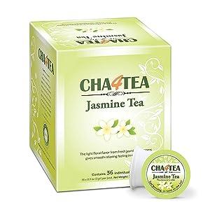 Cha4TEA 36-Count Jasmine Green Tea K Cups for Keurig K-Cups Brewers