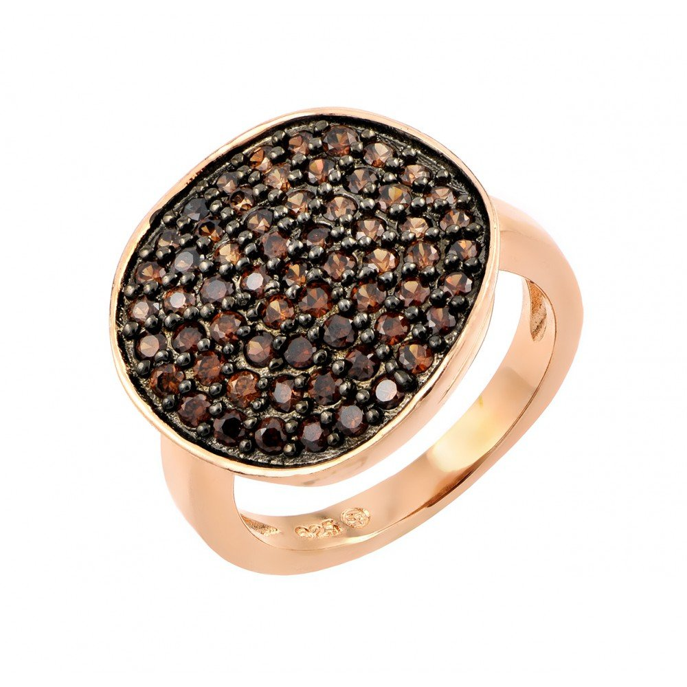 Princess Kylie Pave Set Brown Cubic Zirconia Disc Designer Ring Rose Gold-Tone Plated Sterling Silver