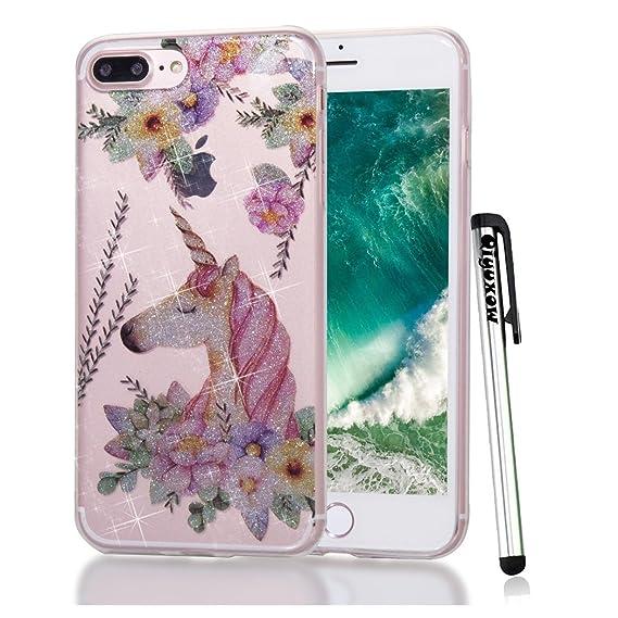 free shipping a8ab0 f883a iPhone 8 Plus Case, Qiyuxow iPhone 7 Plus CLEAR Case Soft Bright Glitter  Sparkle Art Print Anti-Scratch TPU Bumper Case for Apple iPhone 7 Plus & ...