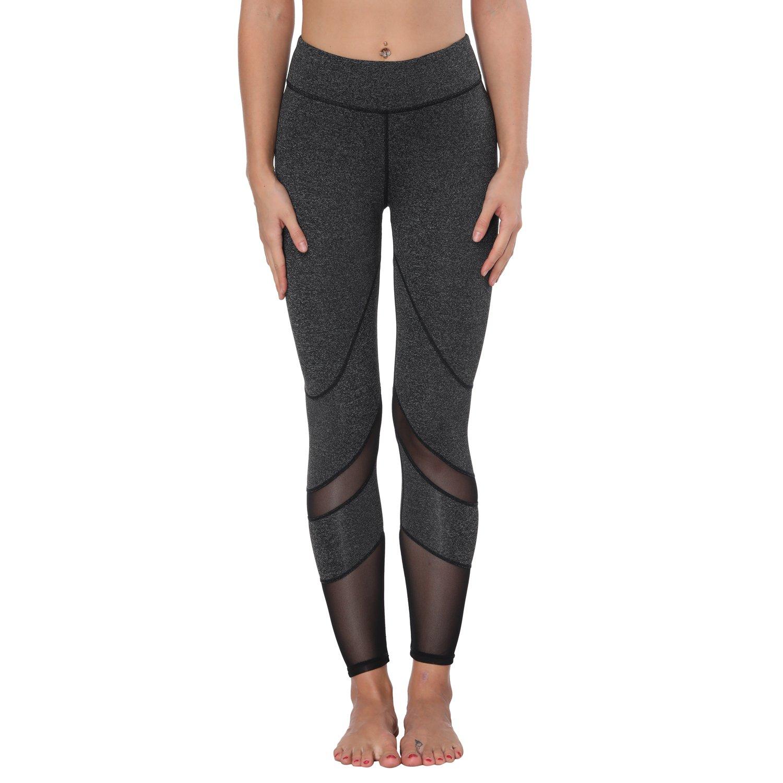 Yoga Pants, FEIVO Women's Power Flex Yoga Pants Tummy Control Workout Yoga Capris Pants Leggings,Mesh-deep Grey,Medium by FEIVO (Image #1)
