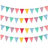Keriber 32.8 Feet 40 Pieces Flags Imitated Burlap Bunting Banner Multicolor Triangle Flags for Party Wedding Birthday Decoration