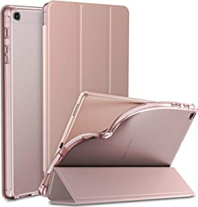 Infiland Samsung Galaxy Tab A 10.1 2019 Case, Tri-Fold Case with Frosted Translucent Back Protector Compatible with Samsung Galaxy Tab A 10.1 Inch Model SM-T510/T515 2019 Release Tablet, Rose Gold
