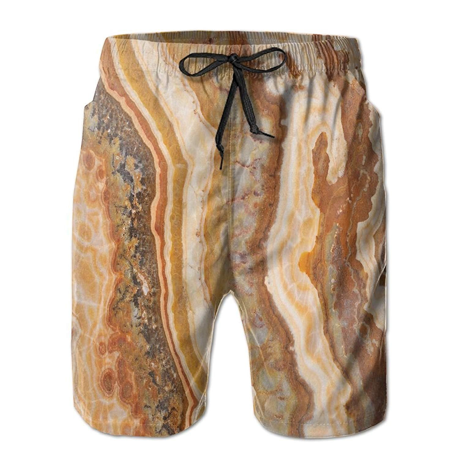 Beach Shorts Light Blue Marble Pattern with White Cracks Man'S Quick-Drying Swim Trunks Sports Board Pants