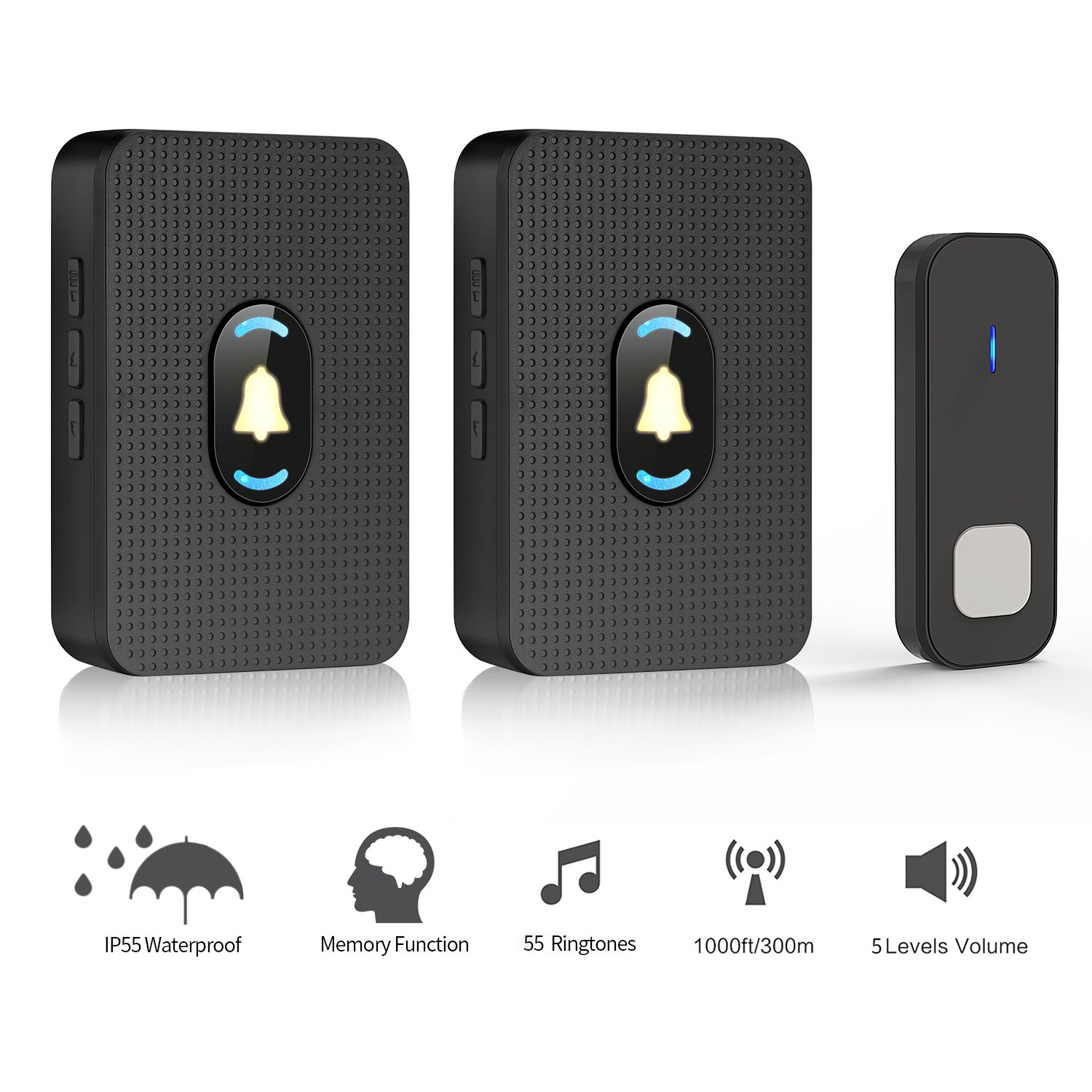 JAVONTEC Wireless Doorbell Chime with LED Night Light,Waterproof IP55,1000ft Long Range with 55 Ringtones and 5 Volume Levels,2 Plug-in Receivers&1 Remote Button(Black)