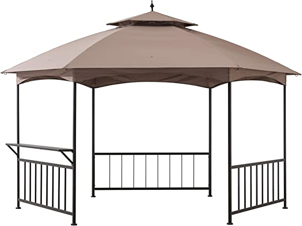Amazon Com Sunjoy A101006400 Havana 11 X 13 Ft Steel Hexagon Gazebo With 2 Tier Dome Canopy Khaki Garden Outdoor