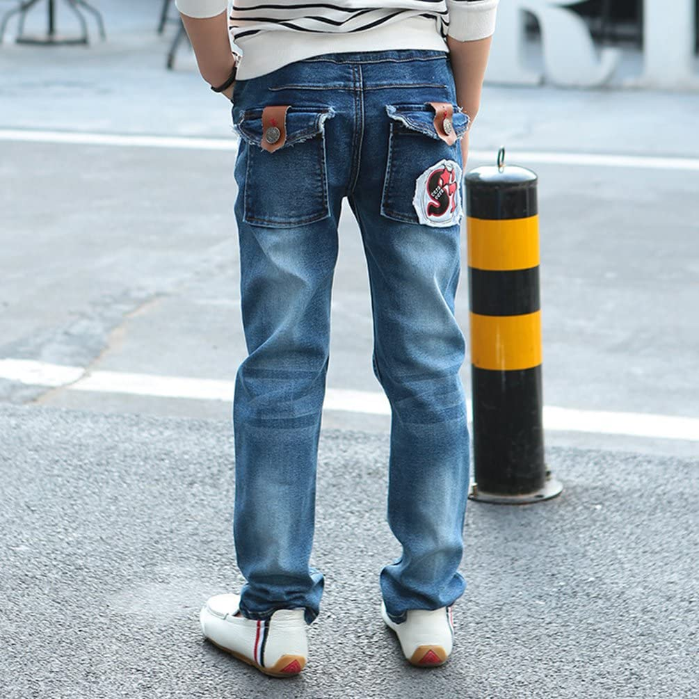 Yiiquan Bambino Ragazzi Stampa di Lettere Jeans con Pantaloni Vita Elastica Primavera ed Estate