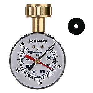 "Solimeta 2-1/2"" Water Pressure Test Gauge, Garden Hose Pressure Gauge, House Water Pressure Gauge, 3/4"" Female Hose Thread, 0-200 psi/kpa with Drag Pointer"