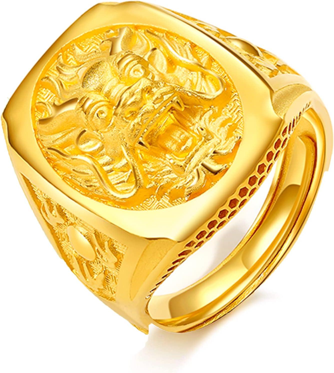 Oro Puro De 24K Dragón Oriental Anillo Tallado De Cabeza De Dragón Ring Dorado Alianzas Boda Hombre Sólido 999 Anillo De La Joyería Ajustable