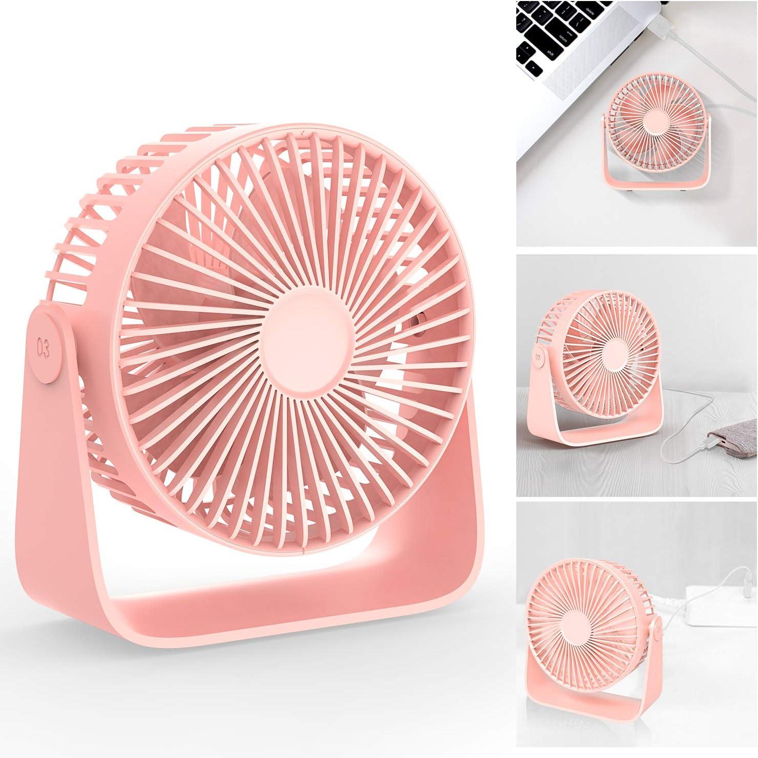 Fan f/ür B/üro Zimmer Zuhause TedGem USB Tischventilator L/üfter USB 360 Grad Einstellbarer Leiser USB Duftenden Wind Blasen USB Ventilator 3 Geschwindigkeiten Kann Aromatherapie-/Öle Setzen Rosa