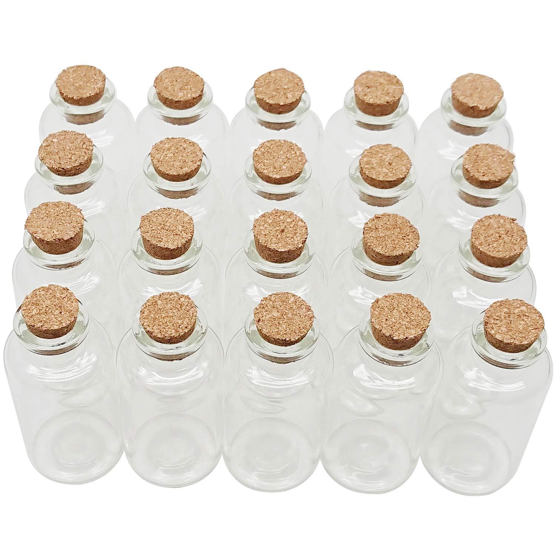 AxeSickle 20 mL Cork Stopper Glass Bottles Mini Clear Glass Bottles 20 Pcs