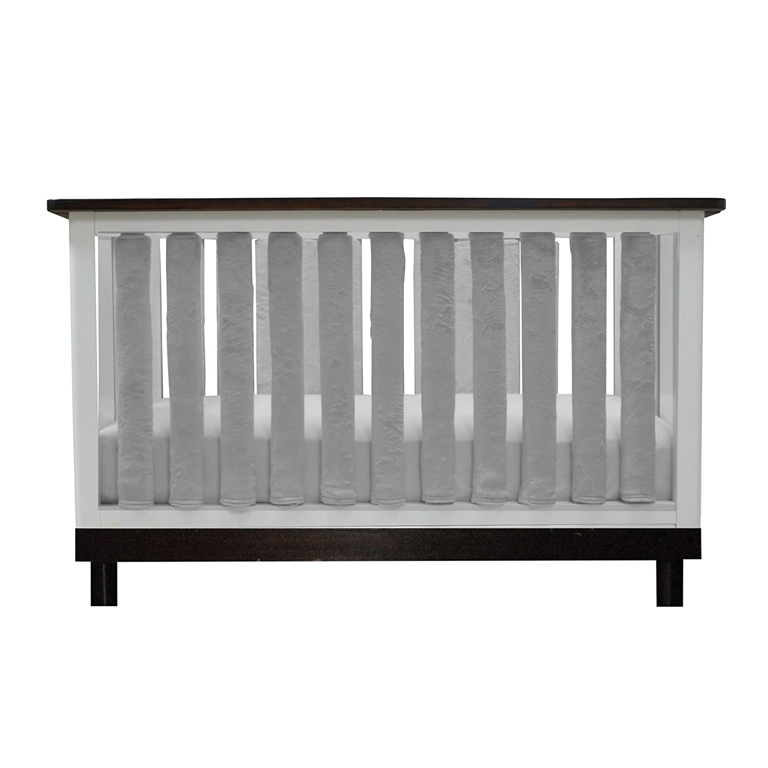 PURE SAFETY Vertical Crib Liners 38 Pack in Luxurious Grey Minky Go Mama Go Designs