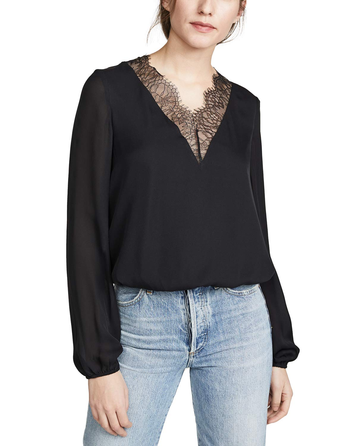 Blooming Jelly Womens Long Sleeve V Neck Lace Chiffon Blouse Top Shirt Black
