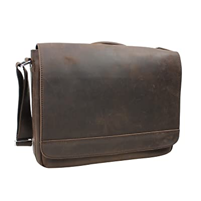"best Vagabond Traveler 15"" Cowhide Leather Casual Messenger Bag with Top Lift Handle L56. Distress"