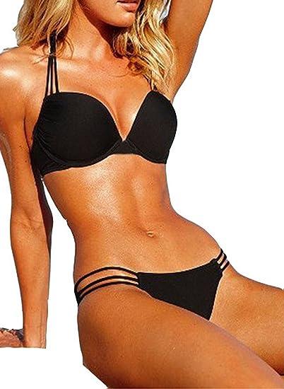 99f961e45eaa1 Lillie Ad Slim Black Low Waist Bikinis Two Pieces Set Sexy Halter Triangle  Scrunch Bikini Swimmer