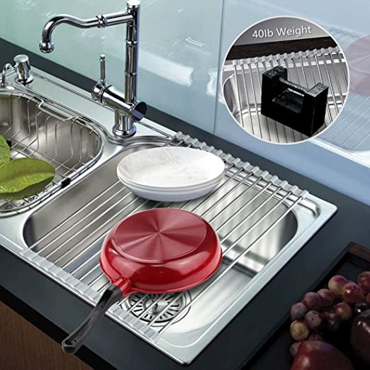 Warm Grey Roll up Dish Rack Dish Drainer over the Sink Dish Drying Rack Roll up Dish Drying Rack Dish Drainers for Kitchen Sink Counter Roll-up Drying Rack SUS304 Stainless Steel Dish Drying Rack