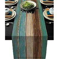Cotton Linen Table Runner Dresser Scarves Retro Rustic Barn Wood&Teal Green Brown Non-Slip Burlap Rectangle Table…