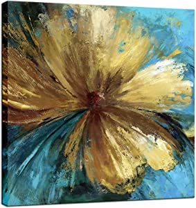 Biuteawal - Modern Canvas Flower Wall Art Abstract Gold Floral Blue Background Paintings on Canvas Still Life Artwork for Home Kitchen Living Room Bedroom Decorations Wall Decor