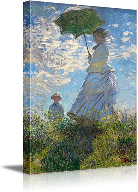 Amazon Com Woman With A Parasol Madame Monet And Her Son By Claude Monet Giclee Canvas Prints Wrapped Gallery Wall Art Stretched And Framed Ready To Hang 32 X 48 Everything