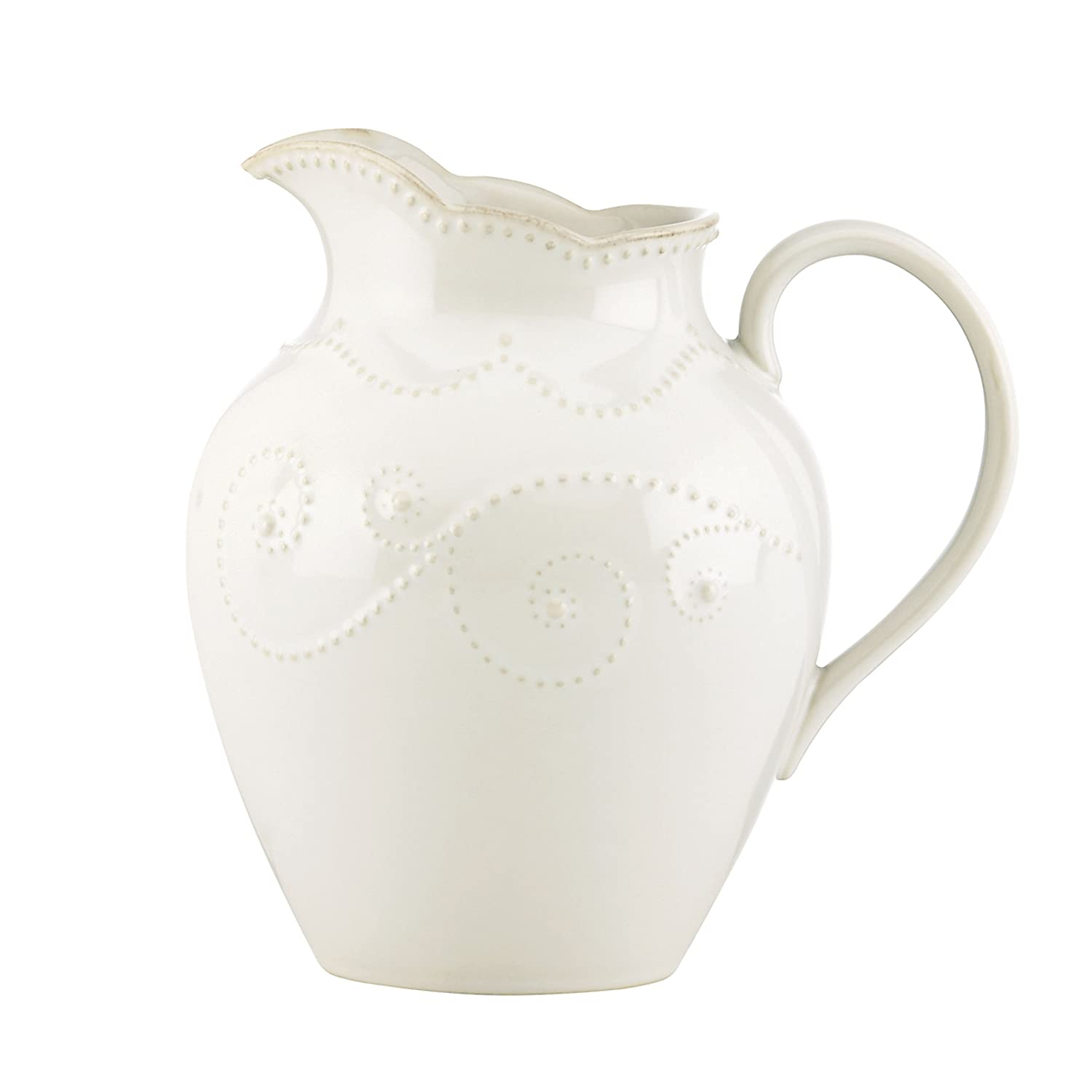 White Lenox French Perle Stoneware Pitcher