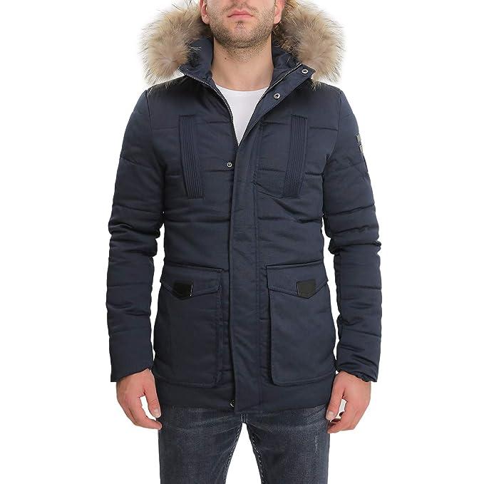 3777c53ed9 Giubbotto Parka Uomo Invernale Impermeabile con Cappuccio Verde Nero Blu  Giaccone Casual Cappotto Giacca con Pelliccia