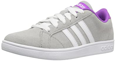 adidas Originals Girls' Baseline Sneaker, Clear OnixWhiteShock Purple Fabric, 11 M US Little Kid