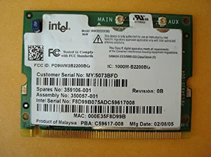 INTEL WM3B2200BG WIRELESS LAN CARD TREIBER WINDOWS XP