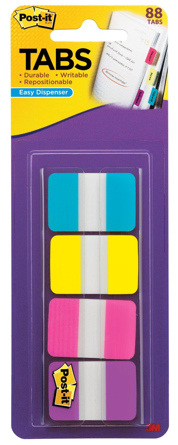 Post-it Tabs, 1-Inch Solid, Aqua, Yellow, Pink, Violet, 22/Color, 88 per Dispenser, 6-PACK by Post-it