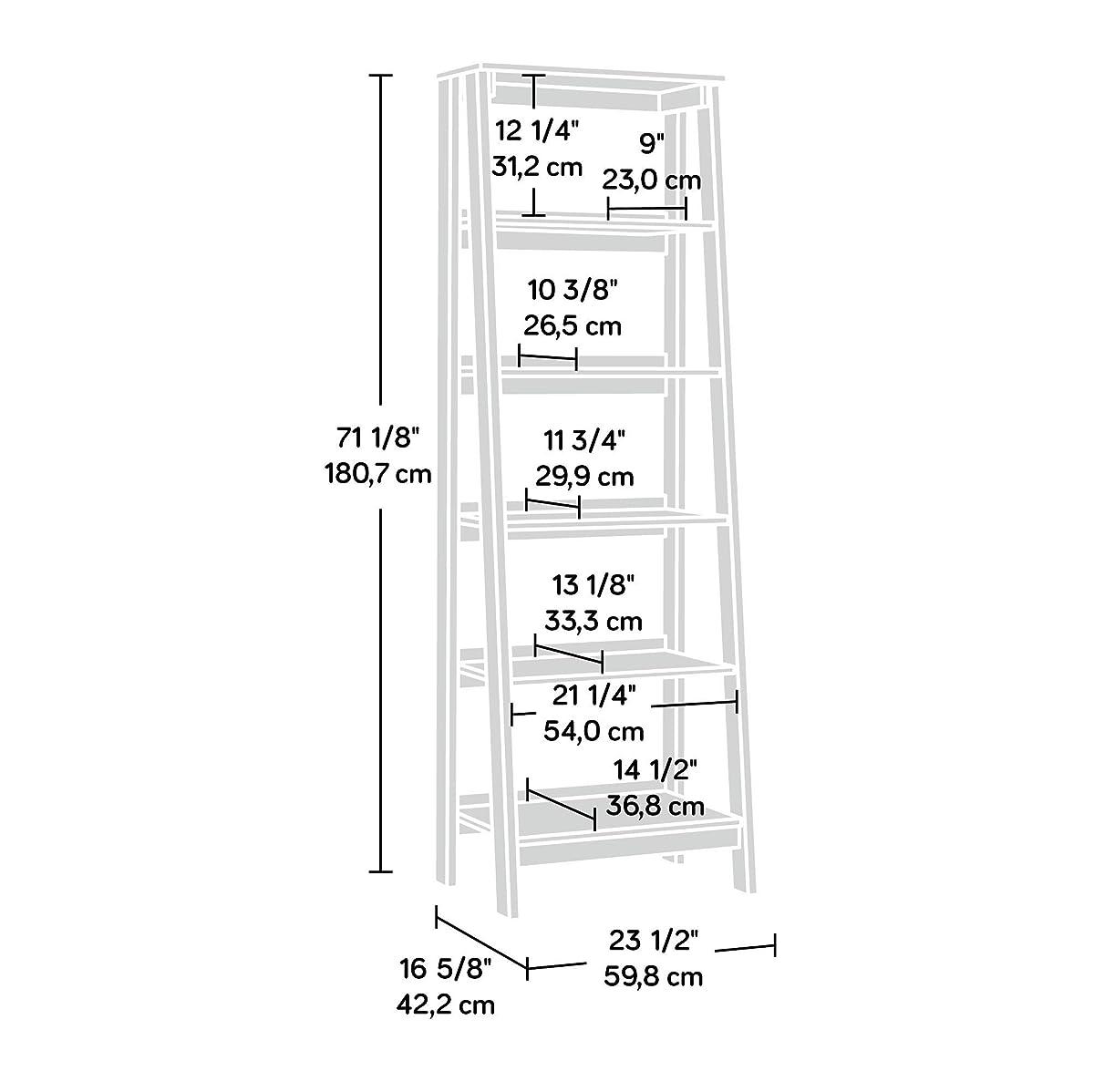 "SauderTrestle 5 Shelf Bookcase, W: 23.54"" x L: 16.61"" x H: 71.14"", Jamocha Wood Finish"
