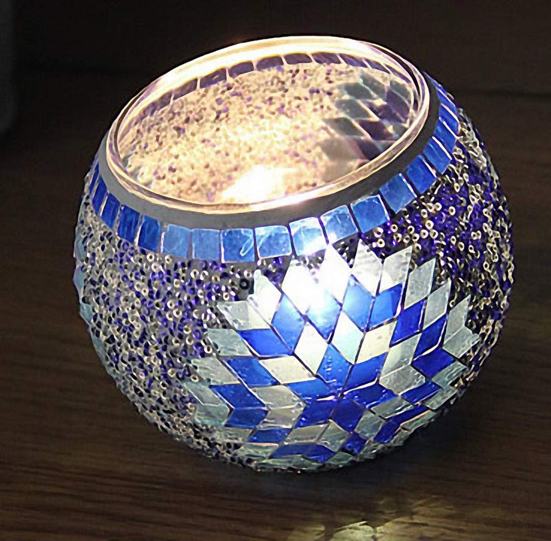 European Vintage Mosaic Glass Led Candle Holders Handmade Geometric Mosaic Glass Pieces Bowl Candleholders Flameless Battery Glittery Sequins Candlesticks Candle Lamps for Wedding Home Party Blue