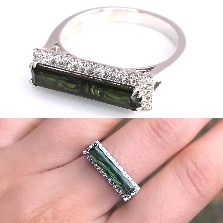 Amazon.com: Natural Tourmaline Chrome Blue Green Emerald Cut and ...