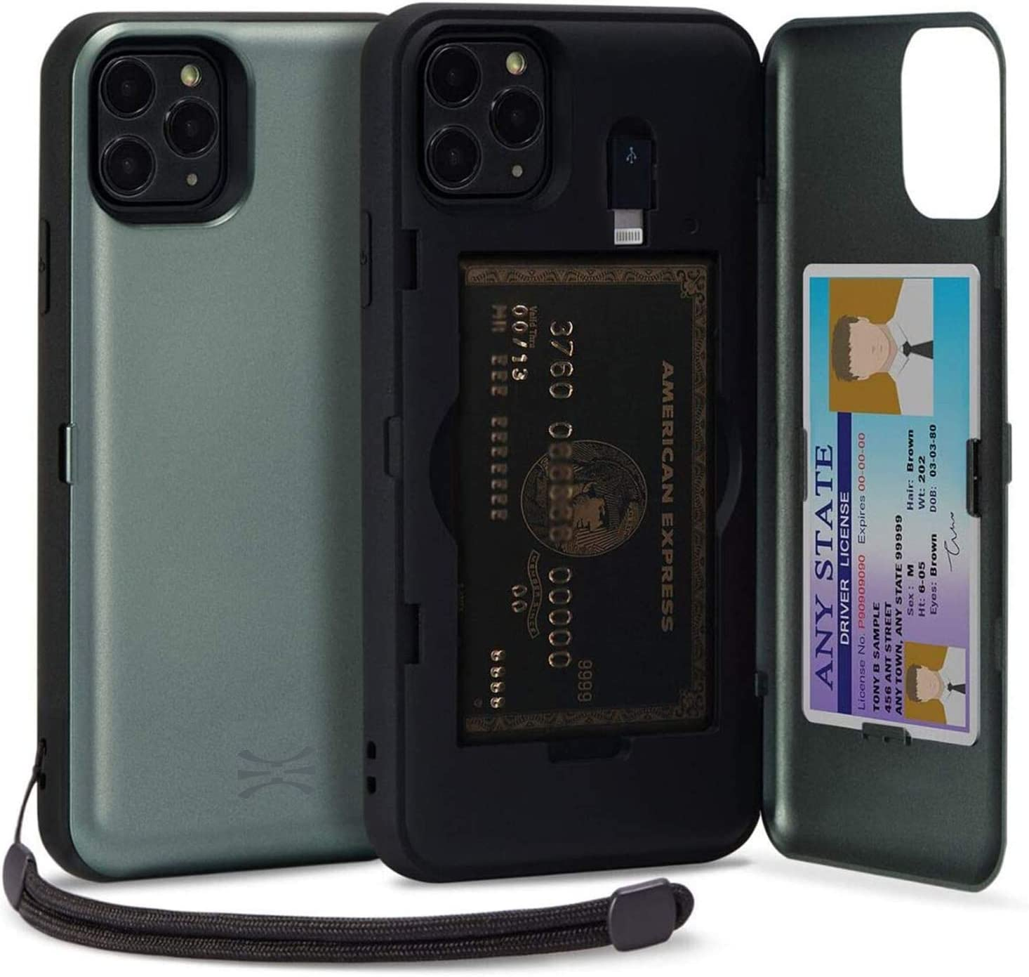 TORU CX PRO Compatible with iPhone 11 Pro Case - Protective Dual Layer Wallet with Hidden Card Holder + ID Card Slot Hard Cover, Strap, Mirror & Lightning Adapter - Midnight Green