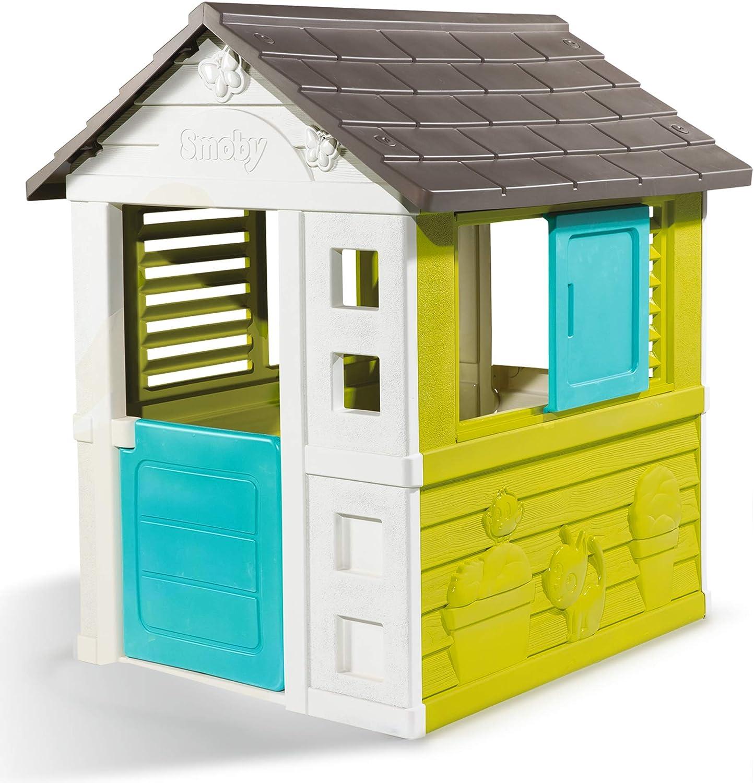 Smoby Pretty II - Casita Infantil, Color Verde, Azul y Gris (810710)