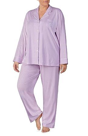 f18383a9d0 LAUREN RALPH LAUREN Women's Plus Size Jersey Knit Pajama Set (Purple ...