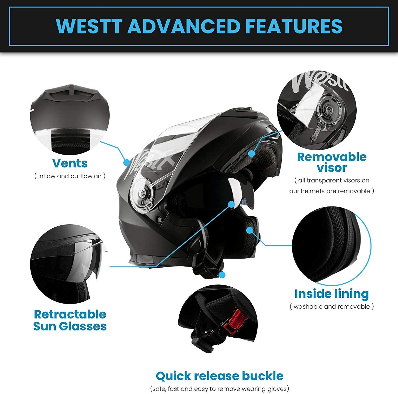 Westt Torque X Klapphelm Integralhelm Motorrad Helm Doppelvisier Matt Schwarz Roller Ece Zertifiziert Auto