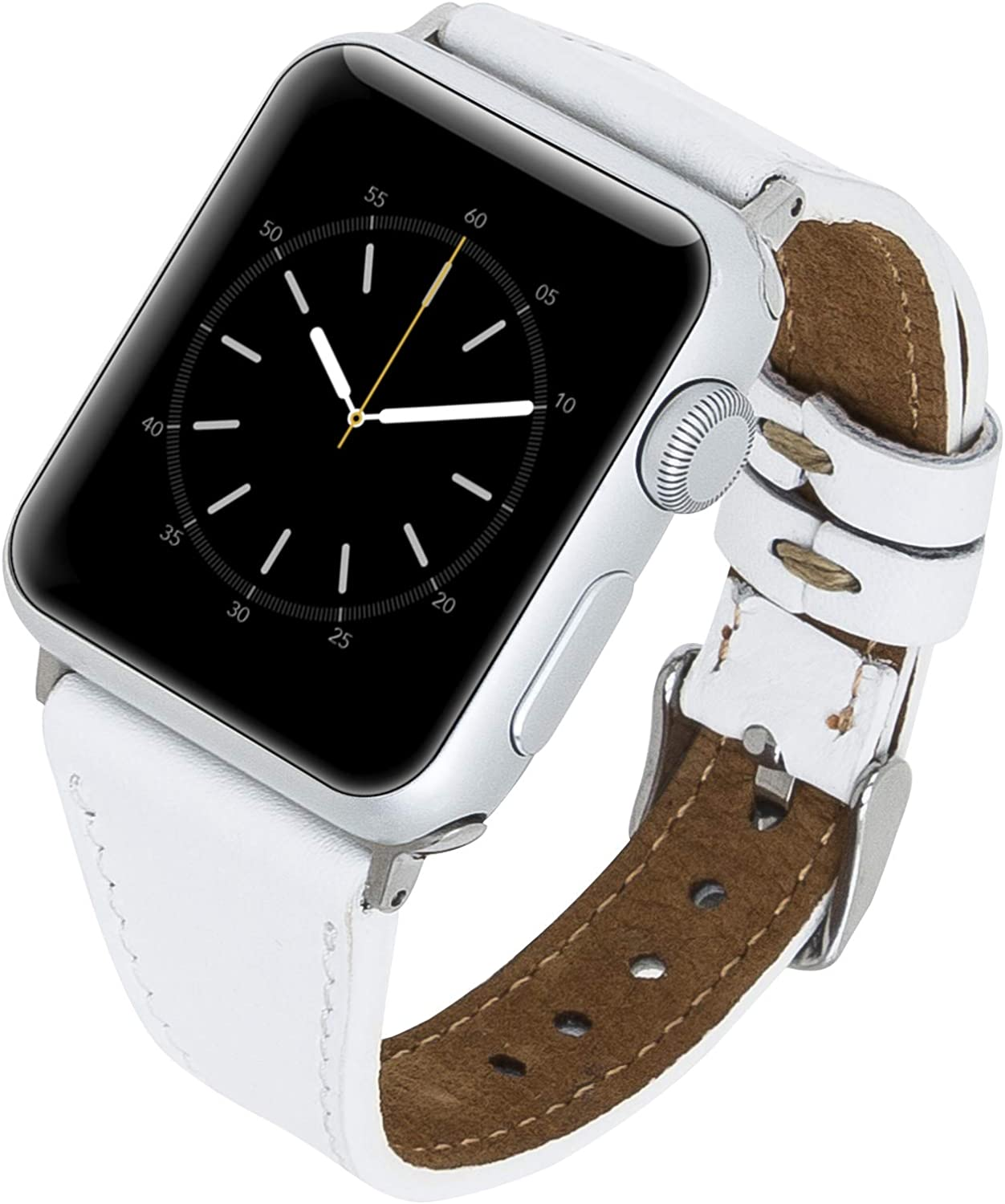 Venito Messina Leather Slim Watch Band Compatible with Apple Watch 42mm 44mm - Strap Designed for iwatch Series 1 2 3 4 5 6 (White w/Silver Connector&Clasp)