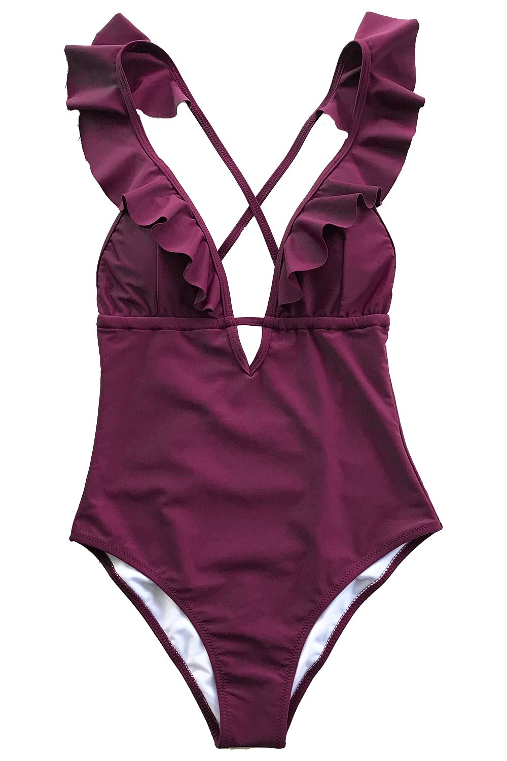 CUPSHE Heart Attack Falbala One-Piece Swimsuit Beach Swimwear Deep V Neck Bikini Monokini Medium