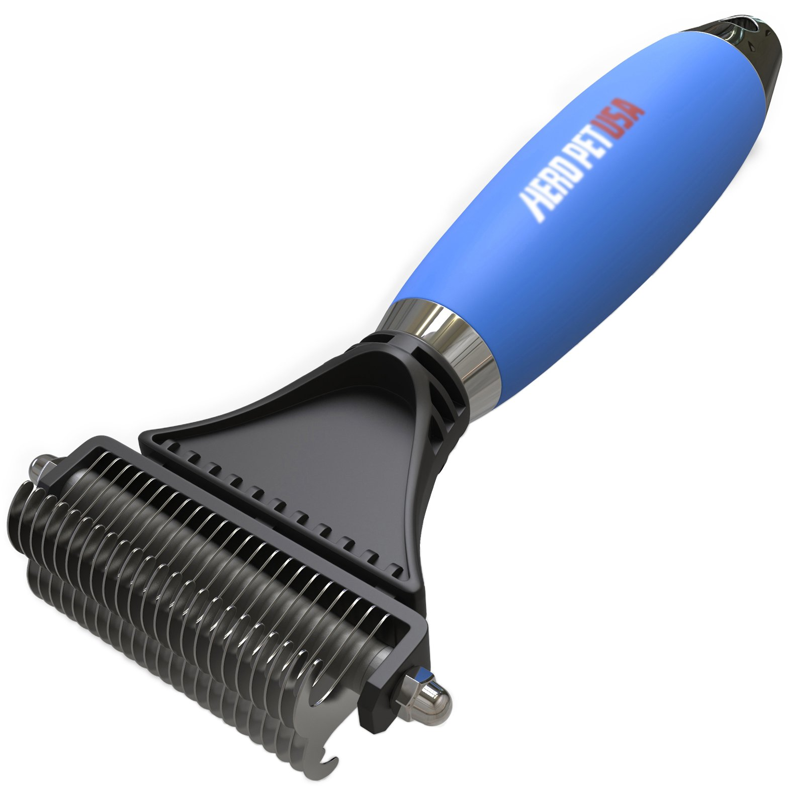 HeroPet USA Dematting Comb - Deshedding Tool, Premium Gel Comfort Grip & Dual Head - Dog, Cat Comb, Easily & Safely Removes Knots, Mats, Tangles and Undercoat, Great for Brushing & Grooming