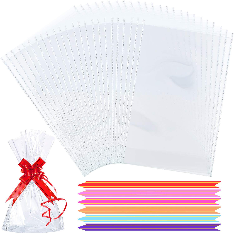 Estilo C Hestya 50 Piezas 15 x 25 cm Bolsa de Celof/án de Fondo de Bloque Transparente Bolsa de Dulces//Fiesta//Regalo//Hogar con Lazos de Bolsa Coloridos
